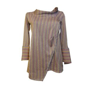 AIDA sweater, in viscose yarn, soft line, overlapping front motif, three-quarter sleeve with high wrist.