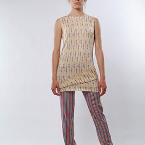 AGNESE sweater, in viscose yarn, tight line, with front and back bottom motif.